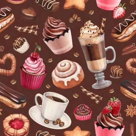 Coffee and cupcakes pattern