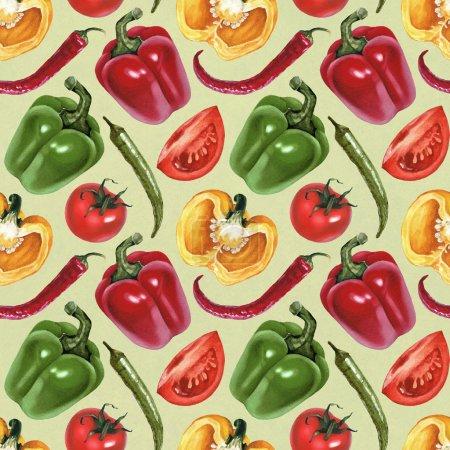 Photo pour Motif sans couture avec des illustrations aquarelles de tomates, paprika et piments - image libre de droit