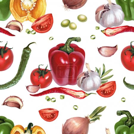 Photo for Seamless pattern with watercolor illustrations of vegetables - Royalty Free Image
