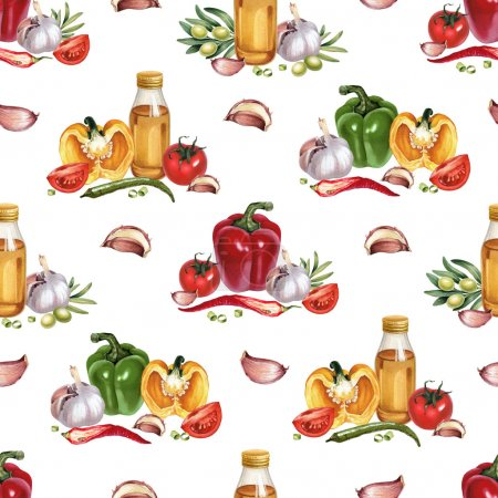 pattern with watercolor vegetables
