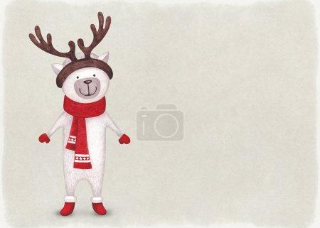 Photo pour Illustration aquarelle de chat. Parfait pour la carte de voeux de Noël - image libre de droit