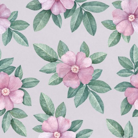 Watercolor pattern with wild roses