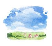 Watercolor illustration of village