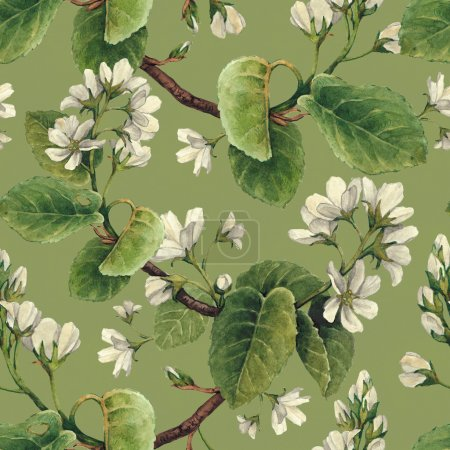Photo for Vintage seamless pattern with watercolor apple flowers - Royalty Free Image