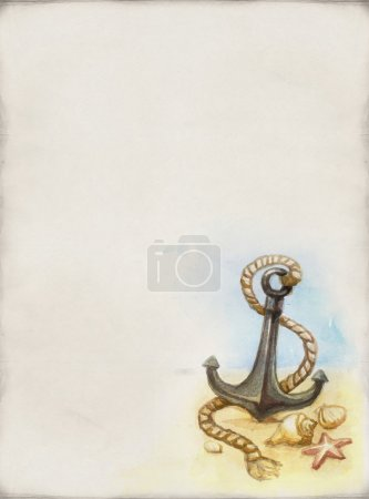 Watercolor anchor and shell