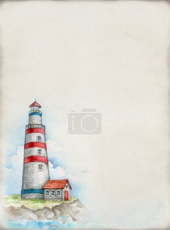 Watercolor illustration of lighthouse