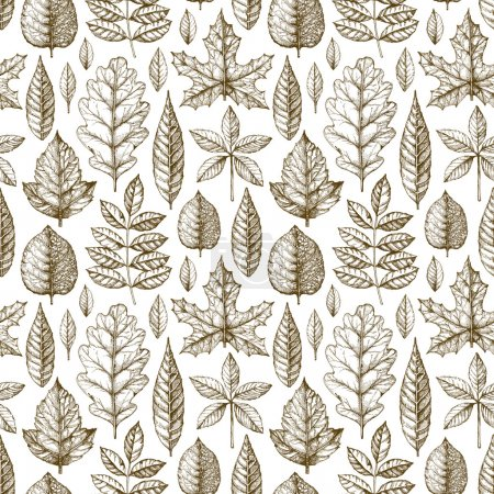 Photo for Seamless pattern with a leaves drawing - Royalty Free Image