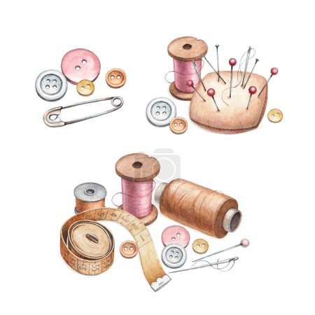 Illustrations of sewing tools