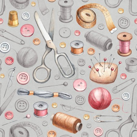 Seamless pattern with illustrations of sewing tools