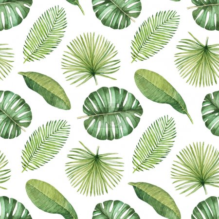 Photo for Watercolor seamless tropical pattern - Royalty Free Image