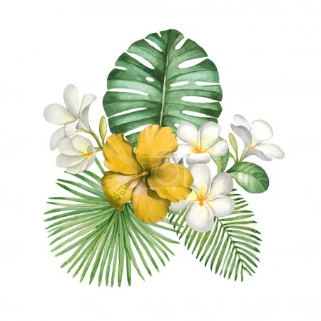 Photo pour Illustration aquarelle de fleurs tropicales - image libre de droit