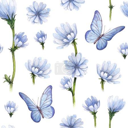 Photo pour Illustration de fleurs sauvages. Aquarelle motif sans couture - image libre de droit