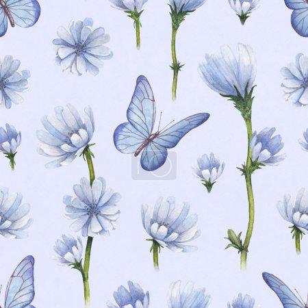 Photo pour Illustration de fleurs sauvages. modèle sans couture aquarelle - image libre de droit