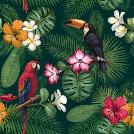 Photo pour Aquarelle toucan et perroquet. Modèle sans couture - image libre de droit