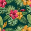 Watercolor seamless tropical pattern...