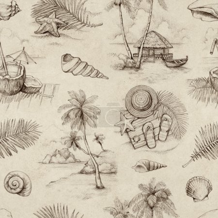 Seamless pattern with illustrations of a tropical paradise