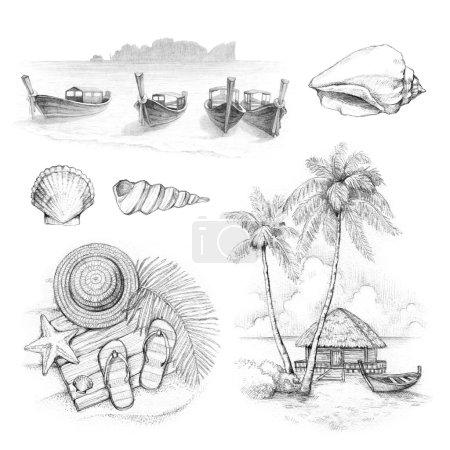 Photo pour Illustrations d'un paradis tropical - image libre de droit
