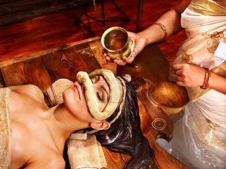 Woman having mask