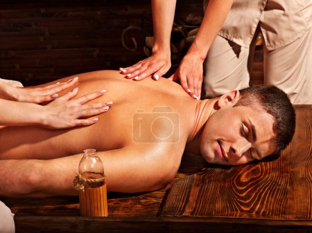 Man having spa treatment
