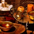 Luxury ayurvedic spa massage still life with candl...