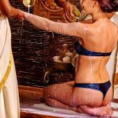 Woman having ayurveda spa .