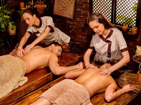 Couple having Ayurvedic spa