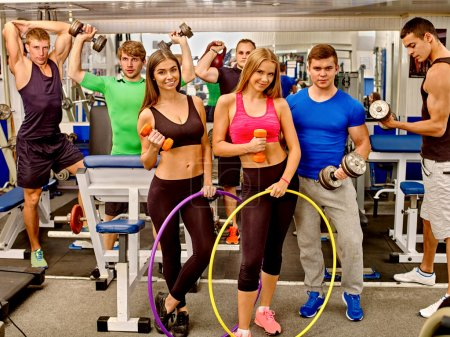 Group people in the gym.