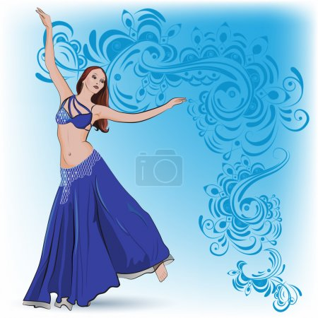 The belly dancer in blue