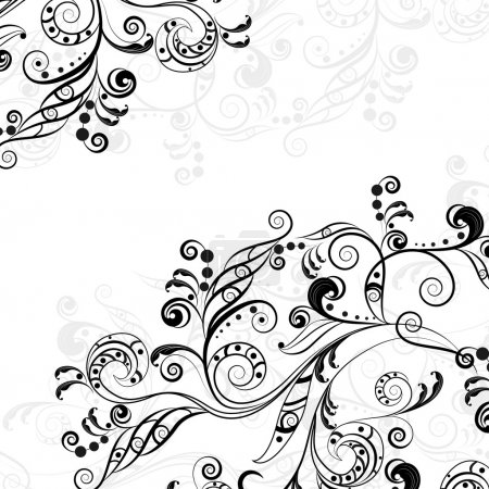 Illustration for Floral abstract pattern of gray and black on transparent background - Royalty Free Image