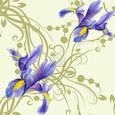 Illustration for Seamless pattern with watercolor Irises grey light green background with a silhouette of vegetation - Royalty Free Image