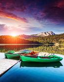 """Постер, картина, фотообои """"Лодки на Черном озере в Дурмитор национальный парк"""""""