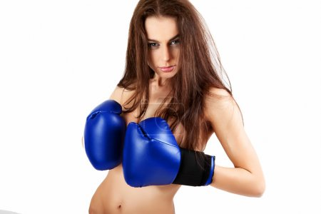 A young woman boxer.