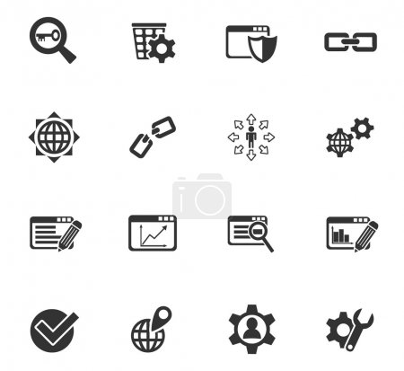 Illustration for Seo and development web icons for user interface design - Royalty Free Image