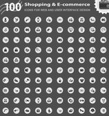 Shopping and e-commerce icons stylized post stamps