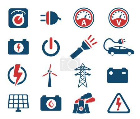 Illustration for Electricity simply icon set - Royalty Free Image