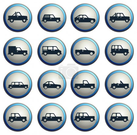 Illustration for Cars simply symbols for web  icons - Royalty Free Image