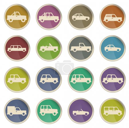 Illustration for Cars simply vector icon set - Royalty Free Image