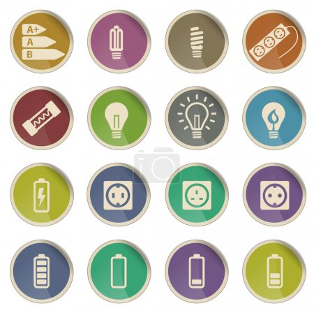 Electricity simply vector icon set...