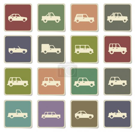 Illustration for Cars label icons for web - Royalty Free Image