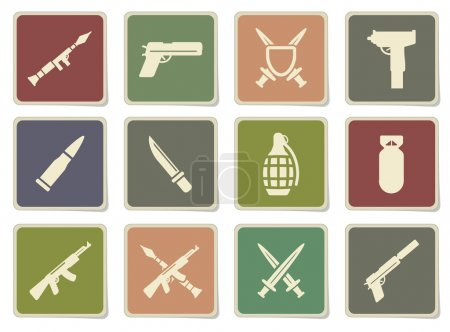 Illustration for Weapon label icons for web - Royalty Free Image