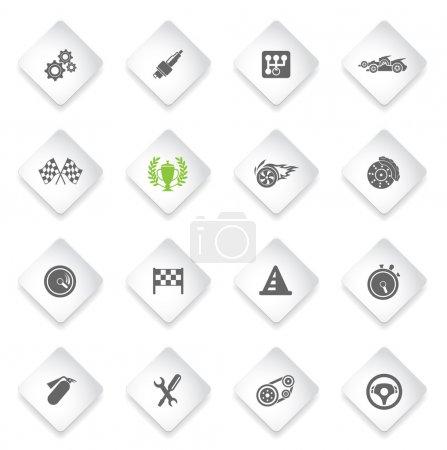Racing icons set