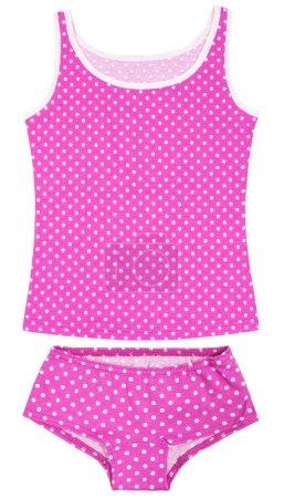 Photo pour Ensemble de sous-vêtements roses pour enfants filles isolé sur fond blanc - image libre de droit