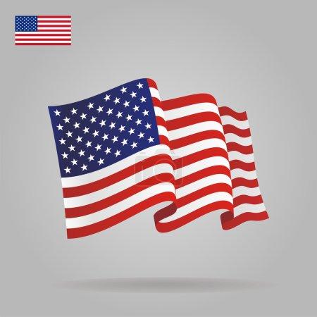 Illustration pour Drapeau américain plat et agitant. Illustration vectorielle - image libre de droit