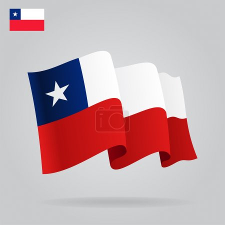 Flat and waving Chile Flag. Vector