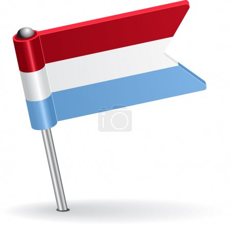 Luxembourg pin icon flag. Vector illustration