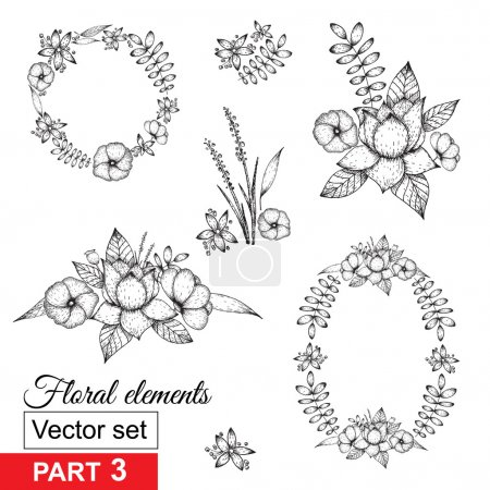 Collection of hand-sketched floral elements and fr...