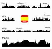 Spain Silhouettes of cities Set for you design