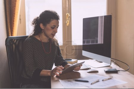 Young Woman Working at Home, Small Office