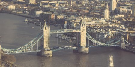 Tower Bridge in London, aerial view, on a sunny day.