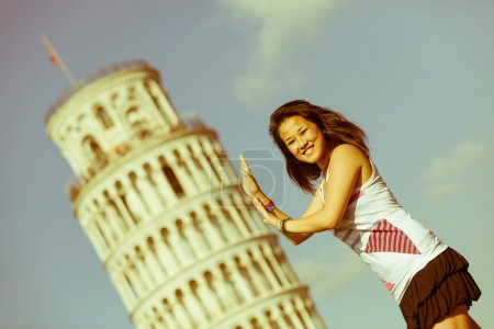 Girl with Leaning Tower of Pisa
